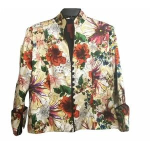 JS COLLECTIONS 100% Silk Women's Floral Jacket 12